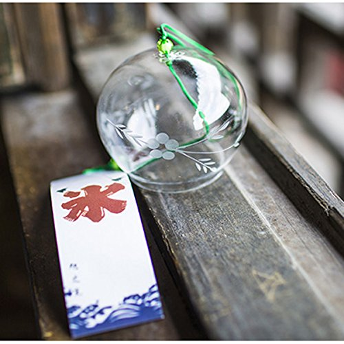 (Japanese Wind Chimes Bells Handmade Glass Birthday Valentine's Day Gift Home Kitchen Spa Garden Window Decors (Willow Flower))