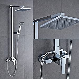Auralum Bathroom Mixer Shower Set With Square 8 Quot Shower