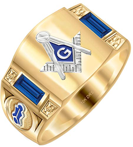 Ring Solid Back Masonic Mens - US Jewels And Gems Customizable Men's Solid Back Two Tone 10k Yellow Gold Simulated Sapphire Freemason Masonic Ring Size 12.5