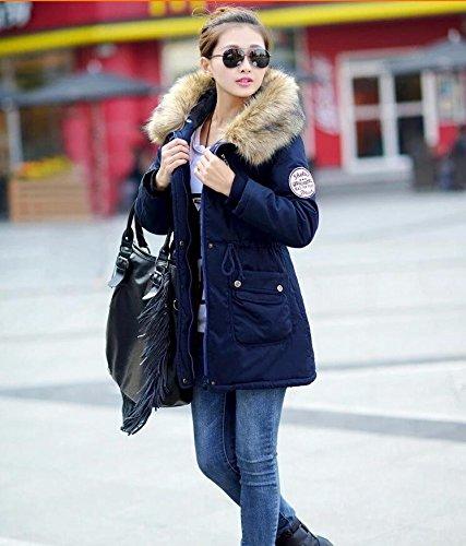 VADOOLL Chaqueta Abrigo Parka con Capucha de Invierno para Mujer azul