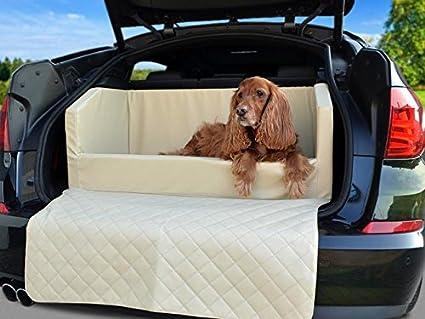 Coche cama para perros – para maletero – Manta – Auto ya en beige piel sintética