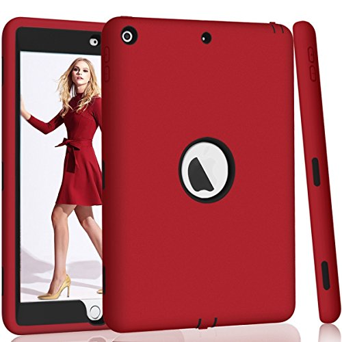 Hocase iPad 9.7 2017 Case, High-Impact Shock Absorbent Dual Layer Silicone+Hard PC Bumper Protective Case for iPad 5th Generation 2017 A1822/A1823 - Red / Black