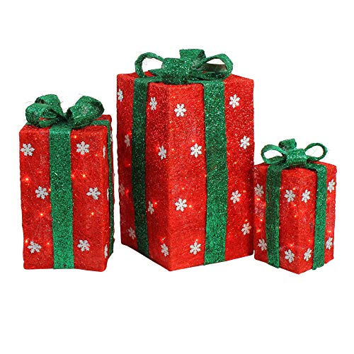 Northlight Set of 3 Lighted Tall Red Sisal Gift Boxes Christmas Yard Art Decorations