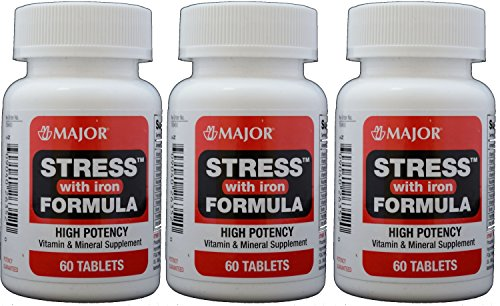 Stress Tab with Iron High Potency Stress Formula with B-Vitamins, C+E, plus Antioxidants and Iron For Immune Support 60 Tablets per Bottle Pack of 3 Total 180 Tablets