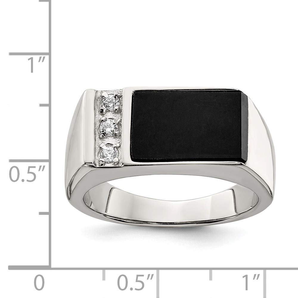 FB Jewels Solid Sterling Silver Onyx /& CZ Cubic Zirconia Mens Ring
