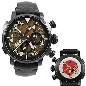 Romain Jerome Pinup DNA Black WWII Sue Phone Chronograph Automatic Men's Watch RJ.P.CH.002.01