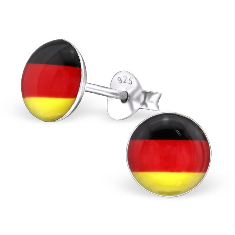 925 Sterling Silver Round Germany Flag Stud Earrings 24435