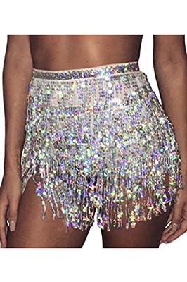 Jumojufol Women's Shiny Tassel Paillettes Sequins Party Dance Mini Skirt
