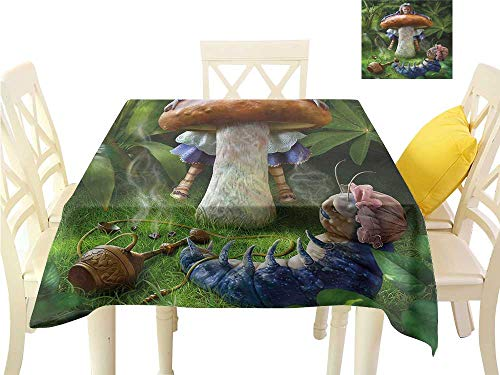 (WilliamsDecor Fabric Tablecloth Mushroom,Little Girl Hugs Mushrooom Dining Table Cover W 60