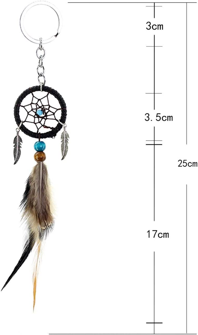 Elviray MS7010 Mini Feather Dream Catcher Small Hanging Car Pendant Key Ring Decoration Handmade Wall Hanging Home Decoration