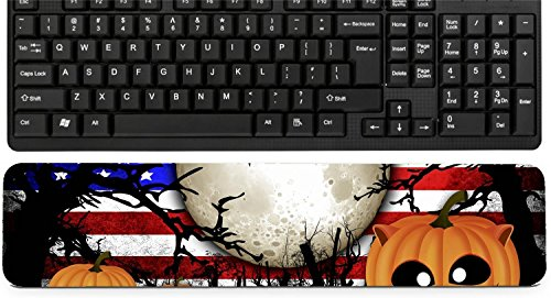 Liili Keyboard Wrist Rest Pad Long Extended Arm Supported Mousepad Halloween Festival and USA Flag Background IMAGE ID 31510480 -