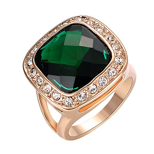 Yoursfs Green Crystal Rings for Women 18K Rose Gold Plated Cocktail Jewelry Sparkle CZ Rings for Wedding - Ladies Cocktail Ring Gold Plated