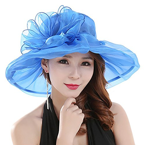 preliked Women's Fashion Summer Church Kentucky Derby Cap British Tea Party Wedding Hat (Blue) ()