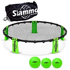 Slammo is an action packed 2-on-2 game that is similar to volleyball, but with a smaller ball and a circular net. The rules are similar to volleyball where each team has 3 hits to spike the ball into the ankle high circular net. Teams volley ...