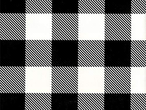 (Black and White Buffalo Plaid Farmhouse Style Folded Wrapping Paper, 2' x 10' Folded Gift wrap, Made in America, Wrap & Revel®)