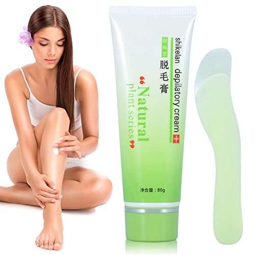 Bikini Zone, Painless Hair Removal Cream for Bikini Zone Body Leg Arm Armpit Hair Removing, Natural Extractions 2Pcs(Cream+Scraping Plate)
