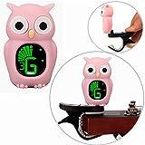 Luvay Cartoon Owl Pink Clip-On Tuner for Guitar, Bass, Ukulele, Violin, Chromatic