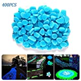 400pcs Glow in The Dark Pebbles Rocks Stones for Indoor Outdoor Decor Garden Walkways Path Fish Tank Aquarium DIY Decorations.Solar or LED Charged (Blue)