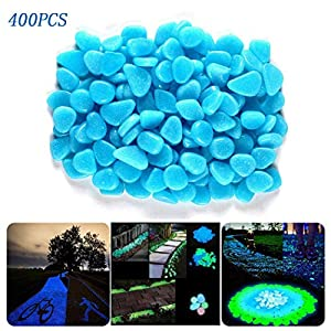 400pcs Glow in The Dark Pebbles Rocks Stones for Indoor Outdoor Decor Garden Walkways Path Fish Tank Aquarium DIY…