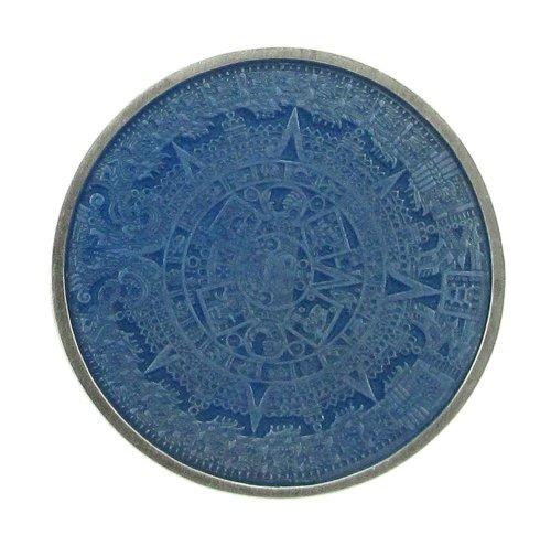 Pewter Belt Buckle Aztec Calendar - Aztec Calendar Buckle - Blue - Pewter Belt Buckle