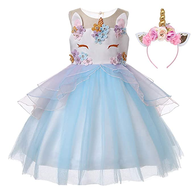 f99c5c5ff23c Amazon.com: 1-10 Years Flower Baby Girls Unicorn Costume Girl Pageant  Princess Party Tutu Dress with Headband: Clothing