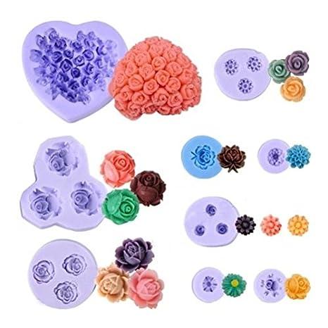 9 piezas moldes cortadores de silicon con forma de flores para pasteles, fondant, mazapán, galletas, jabón, chocolate. [version:x6] by DELIAWINTERFEL: ...