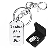 Father's Day Gifts Keychain for Dad I couldn't Pick A Better Dad Stainless Steel Keychain with Gift Box