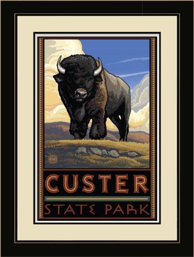 Northwest Art Mall PAL-0721 LFGDM BUFP Custer State Park Buffalo Plains Framed Wall Art by Artist Paul A. Lanquist, 20 by ()