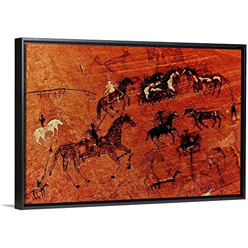 Panoramic Images Floating Frame Premium Canvas with Black Frame Wall Art Print Entitled Petroglyphs On Rock, Canyon De Chelly National Monument, Arizona, USA 30