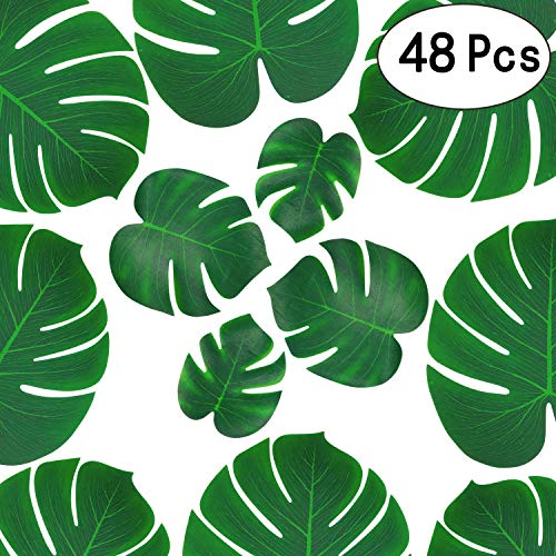 Tropical Green Palm Monstera Leaves Summer Hawaiian Jungle Beach Fabric Leaves Luau Safari Party Supplies Decorations, 48pc ()
