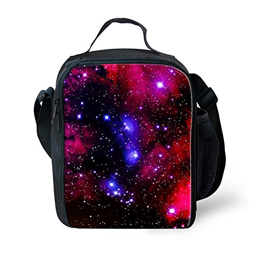 FOR U DESIGNS Fashion Galaxy Print Lunch Bags with Water Bottle Pocket for Kids