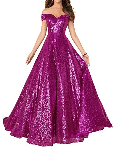 2018 Off Shoulder Sequined Prom Party Dresses for Women A Line Empire Waist Robes Formal Evening Skirts Long Elegant Gowns SHPD41 Fuchsia Without Beads Size 12 ()