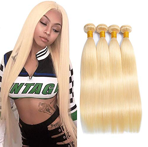613 Blonde Human Hair 4 Bundles 7A Blonde Brazilian straight Hair Bundles Extensions Double Weft Brazilian Platinum Hair Bundles 24
