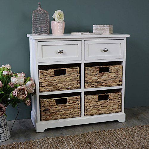 Melody Maison Cream Wood & Wicker 6 Drawer Basket Storage Unit