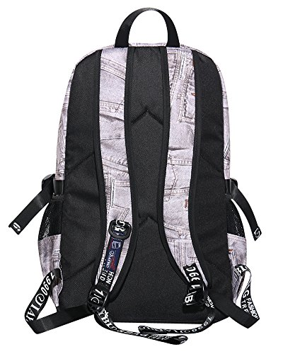 Denim Backpack Grey Rucksack Denim School Shoulder Bag Travel Grey Book Women's f0qZwHSn