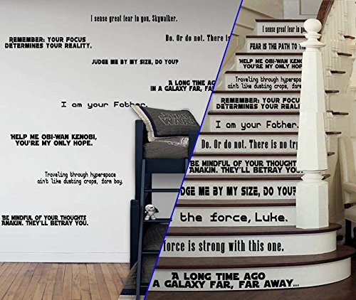 Star Wars Inspired LARGE [BLACK] Quote Set Vinyl Wall or Stairs Decal by GMDdecals Force Jedi Emperor Strikes Phantom Lightsaber Home Decor by GMDdecals