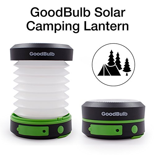 GoodBulb LED Outdoor Compact Solar Camping Lantern, Hiking Lantern, Emergency Lantern with Rechargeable USB Power Bank (Green)