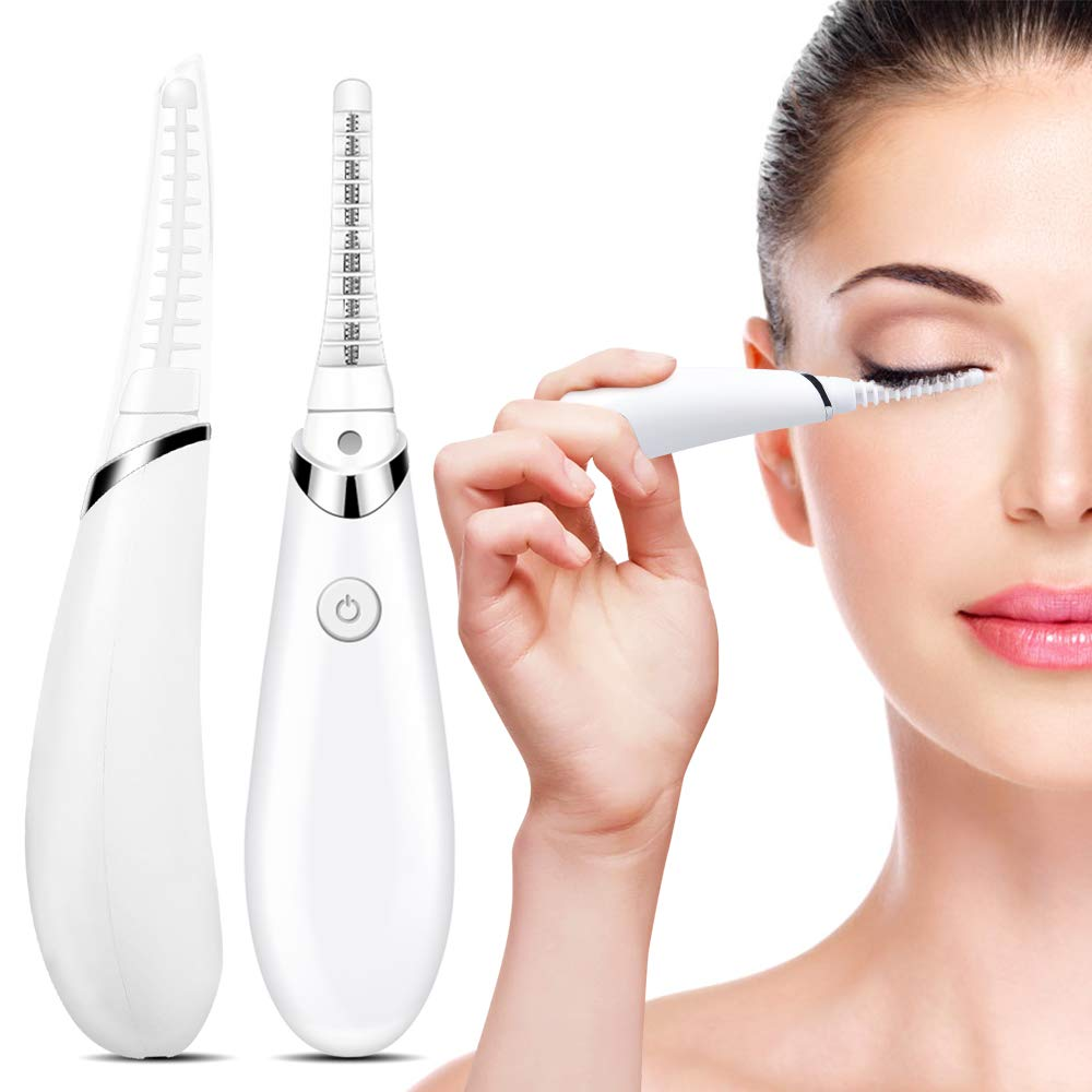 Heated Eyelash Curler, Acavado Electric Eyelash Curler Electronic Eye Lashes Curling Comb Quick Heating Long Lasting USB Rechargeable Natural