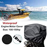 3 horse power boat motor - KEMIMOTO Outboard Motor Cover Boat Engine Cover Trailerable Protector 600D 100-150HP Horsepower - Black Heavy Duty Waterporrf Mildew&UV Resistant Thick Polyester Fabric