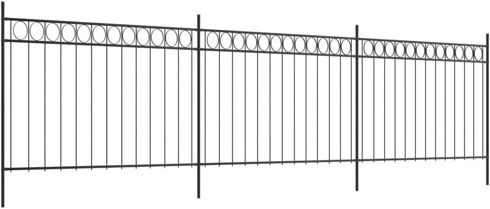 Valla con Postes, Valla de jardín, Valla de Metal, Juego de Vallas, 3 Paneles de Valla y 4 Postes, Acero Negro, 6 x 1,5 m (L x H): Amazon.es: Hogar