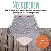 The Original Chewy Teething Bib : Super Absorbent Reversible Bandana Drool Bib For Teething Babies. Food-Grade Silicon Teethers are BPA and Phtalates-Free| Polka Dot Pink Neckerchew by CHEEKY CHOMPERS