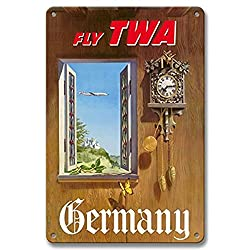 Bruyu5se Aluminum Sign, Metal Sign, 7 x 10 Vintage Tin Sign - Germany - Fly TWA (Trans World Airlines) - German Black Forest Cuckoo Clock Retro Sign