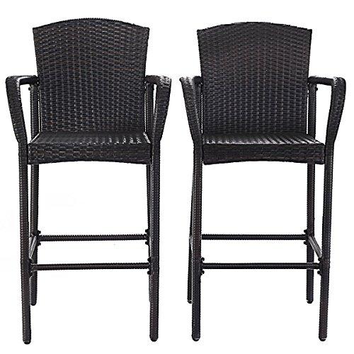 CHOOSEandBUY 2 pcs Rattan Bar Stool Set High Chairs Beach Stool Bentwood