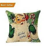 Decorative Pillow Cover - Christmas Pillow Case,Beautyvan Christmas Linen Square Throw Flax Pillow Case Decorative Cushion Pillow Cover (D)