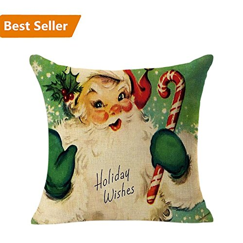 Christmas Pillow Case,Beautyvan Christmas Linen Square Throw Flax Pillow Case Decorative Cushion Pillow Cover (Vintage Christmas)