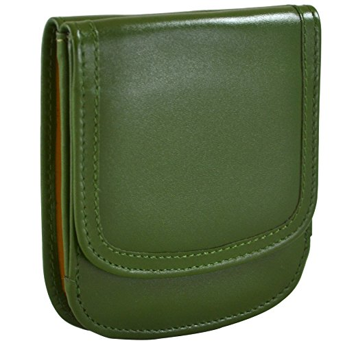 Leather, finely-stitched taxi wallet in Olive green.