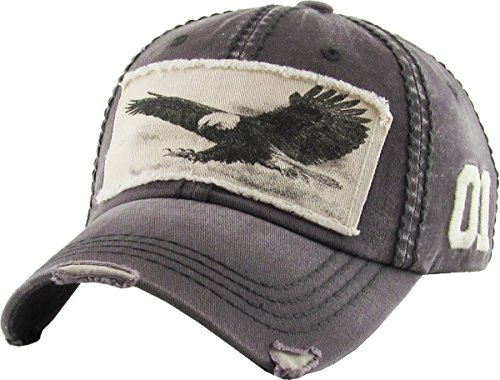 (KBVT-573 DGY Eagle Vintage Distressed Dad Hat Baseball Cap Adjustable)