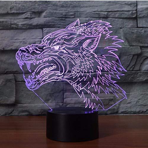 BMY Ferocious Wol3D Led Night Light 7 color Change Fighter Lam3D Desk Lampara Led USB Baby Sleeping Lamp Best Gift