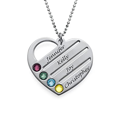 82c4e4ead4e45d Amazon.com: Sterling Silver Birthstone Heart Necklace with Engraved Names -  Custom Made with Any Name! (14 Inches): Jewelry