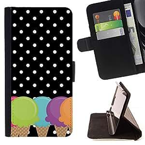 Momo Phone Case / Flip Funda de Cuero Case Cover - Cono Lunares Negro Blanco - Sony Xperia Z3 D6603